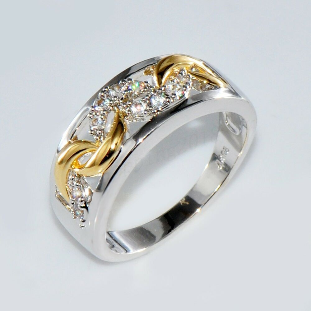 size 6 10 gold silver crystal hollow band ring 10kt
