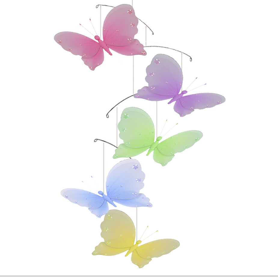 Butterfly mobile nursery ceiling hanging jewel butterflies for Butterfly decorations for home
