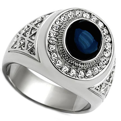 Dark Blue Dome Stone Silver Stainless Steel Mens Ring | eBay Silver Rings For Men With Blue Stone