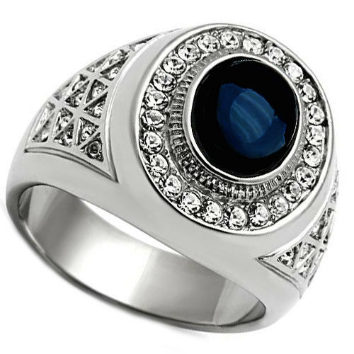 dark blue dome stone silver stainless steel mens ring ebay