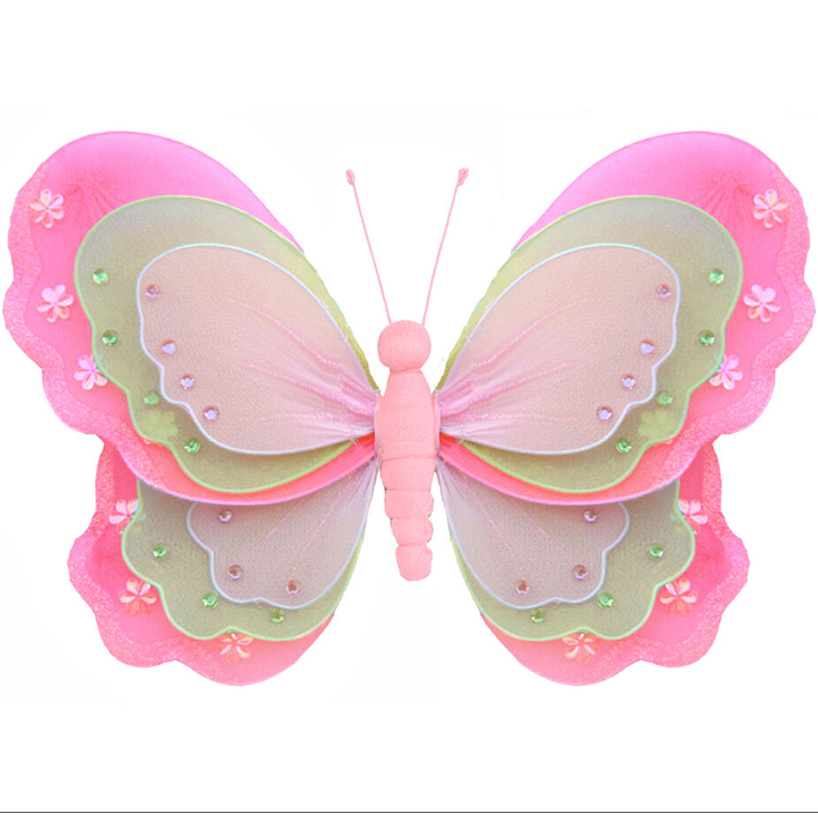 Hanging Butterfly Dk Pink Green Pink Baby Nursery Fake