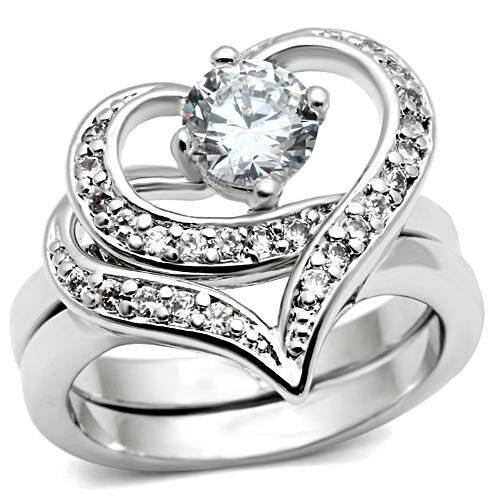 heart wedding ring desing 2 pcs silver rhodium ep wedding engagement 4775