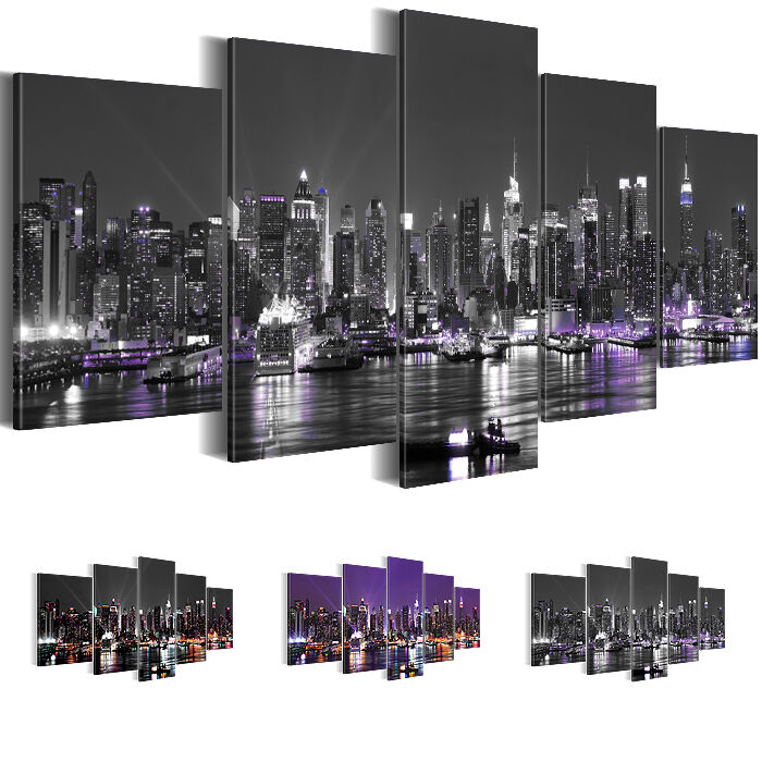 bild bilder leinwand xxl kunstdruck new york skyline lila 200x100 5tlg 6019532 ebay. Black Bedroom Furniture Sets. Home Design Ideas