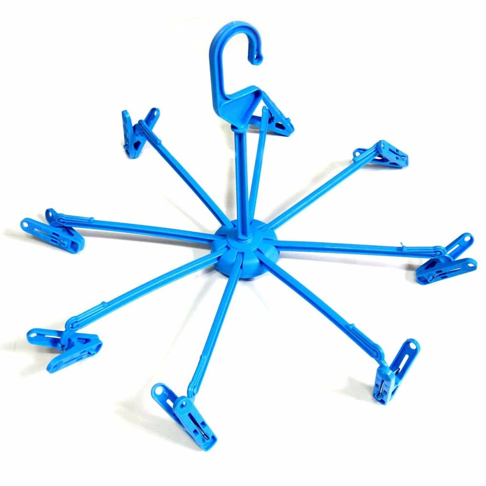 Blue Rotating Folding Hanger Clothespins Laundry Clips
