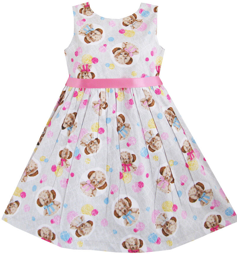 Sunny Fashion Kids Girls Bear Print Dress School Uniform ...