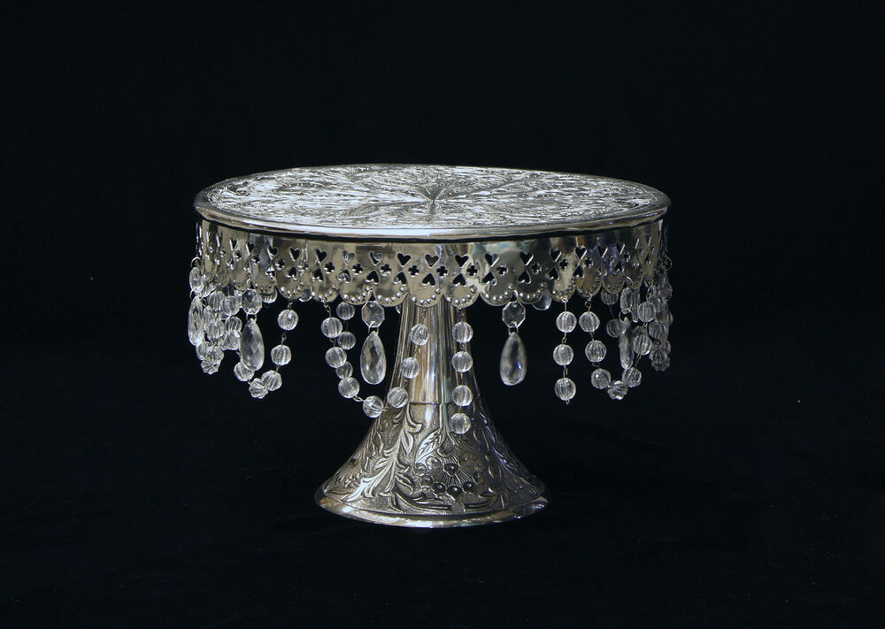 wedding cake stand with hanging crystals wedding silver cake stand pedestal14 quot with beautiful 25684