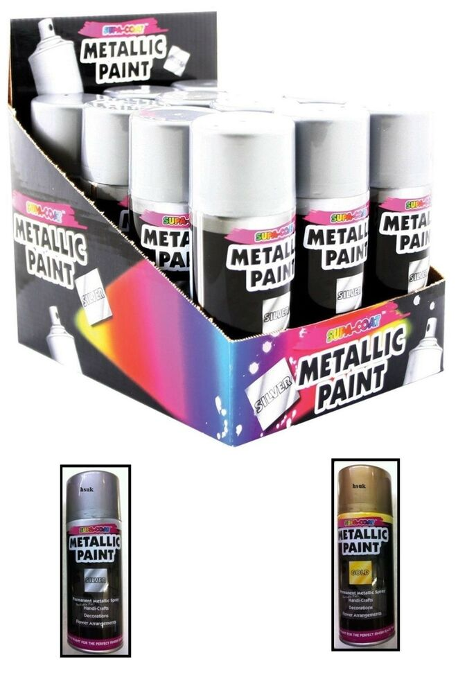 Metallic Gold Silver Spray Paint Interior Exterior Use Rapid Spray Tin Can Ebay