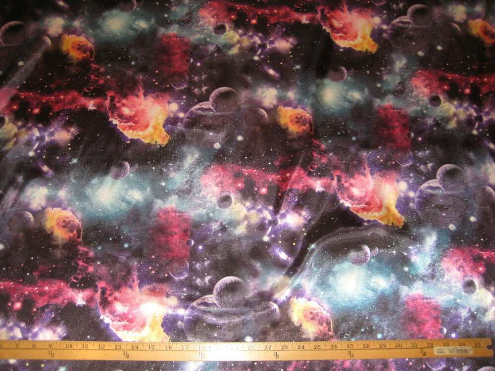 Black galaxy cosmos planets print charmeuse satin fabric for Planet print fabric