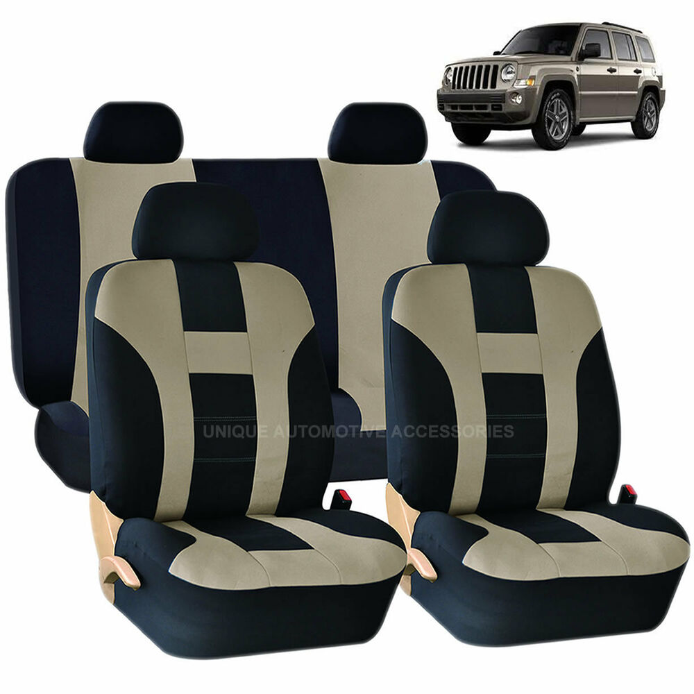 beige black double stitch seat covers 8pc set for jeep. Black Bedroom Furniture Sets. Home Design Ideas