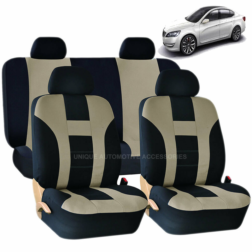 beige black double stitch seat covers 8pc set for kia optima sorento ebay. Black Bedroom Furniture Sets. Home Design Ideas