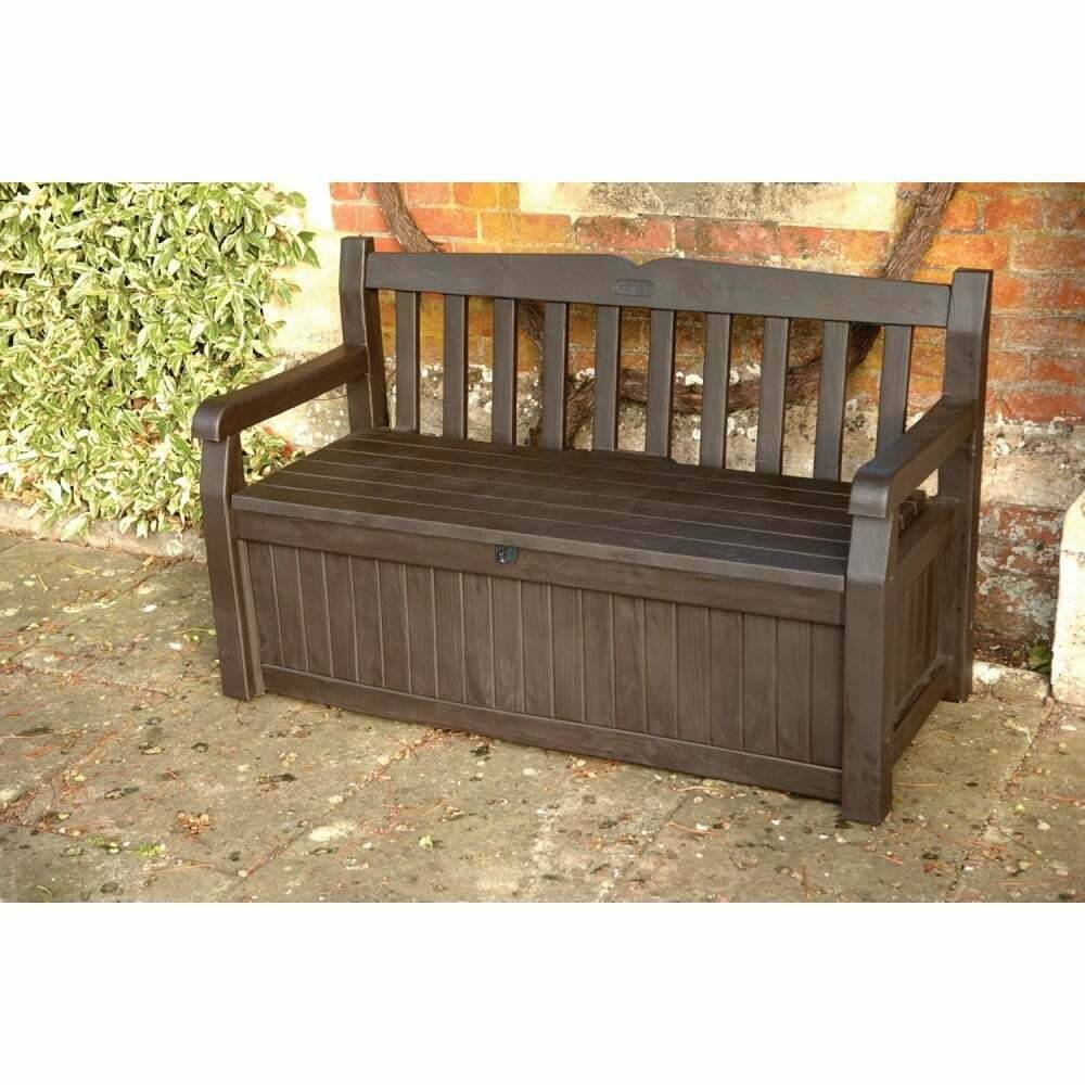 Keter iceni eden plastic garden storage bench box dark for Outdoor plastic bench seats