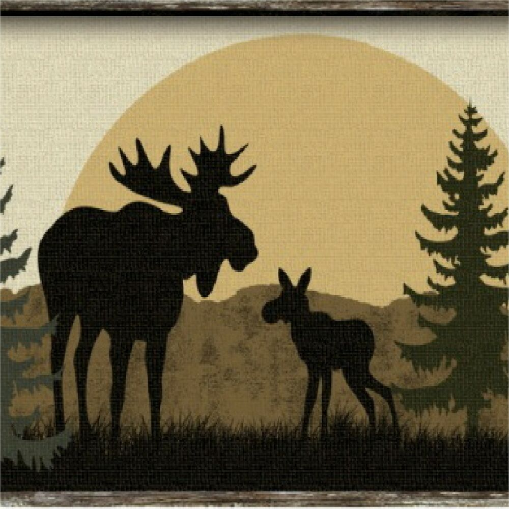moose silhouettes rustic moose silhouette pine trees coasters set of 4 936