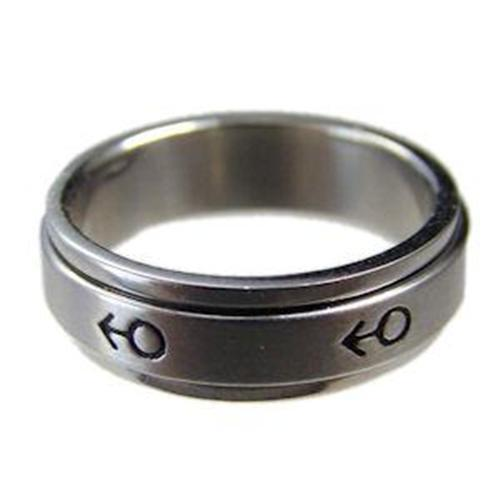 Gay Mens Spinner Ring Stainless Steel Spinning Mars Symbol