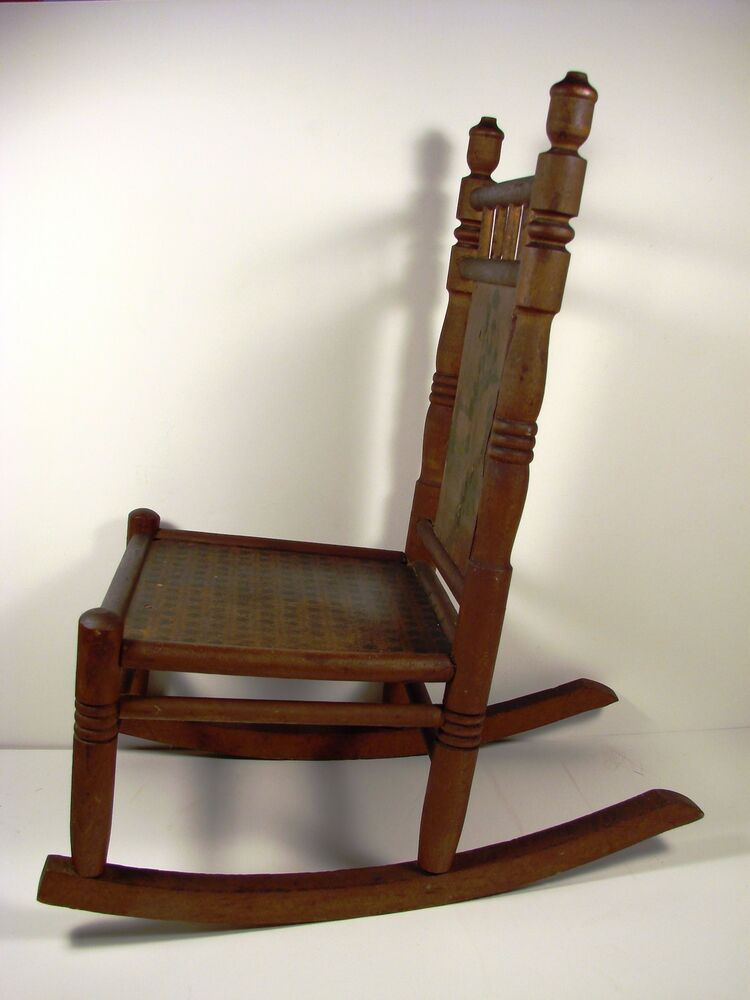 LARGE DOLL SIZE ANTIQUE WOODEN ROCKING CHAIR, W. PAINTED DESIGN  eBay
