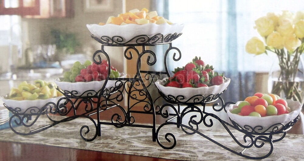 New 3 Tier Buffet Server 5 Stoneware Serving Dishes