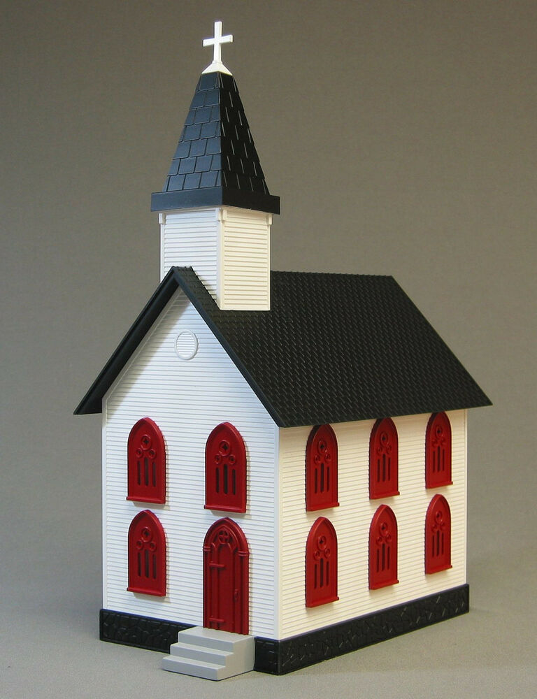 Accessories O Gauge Buildings : Mth rail king country church white red windows o gauge