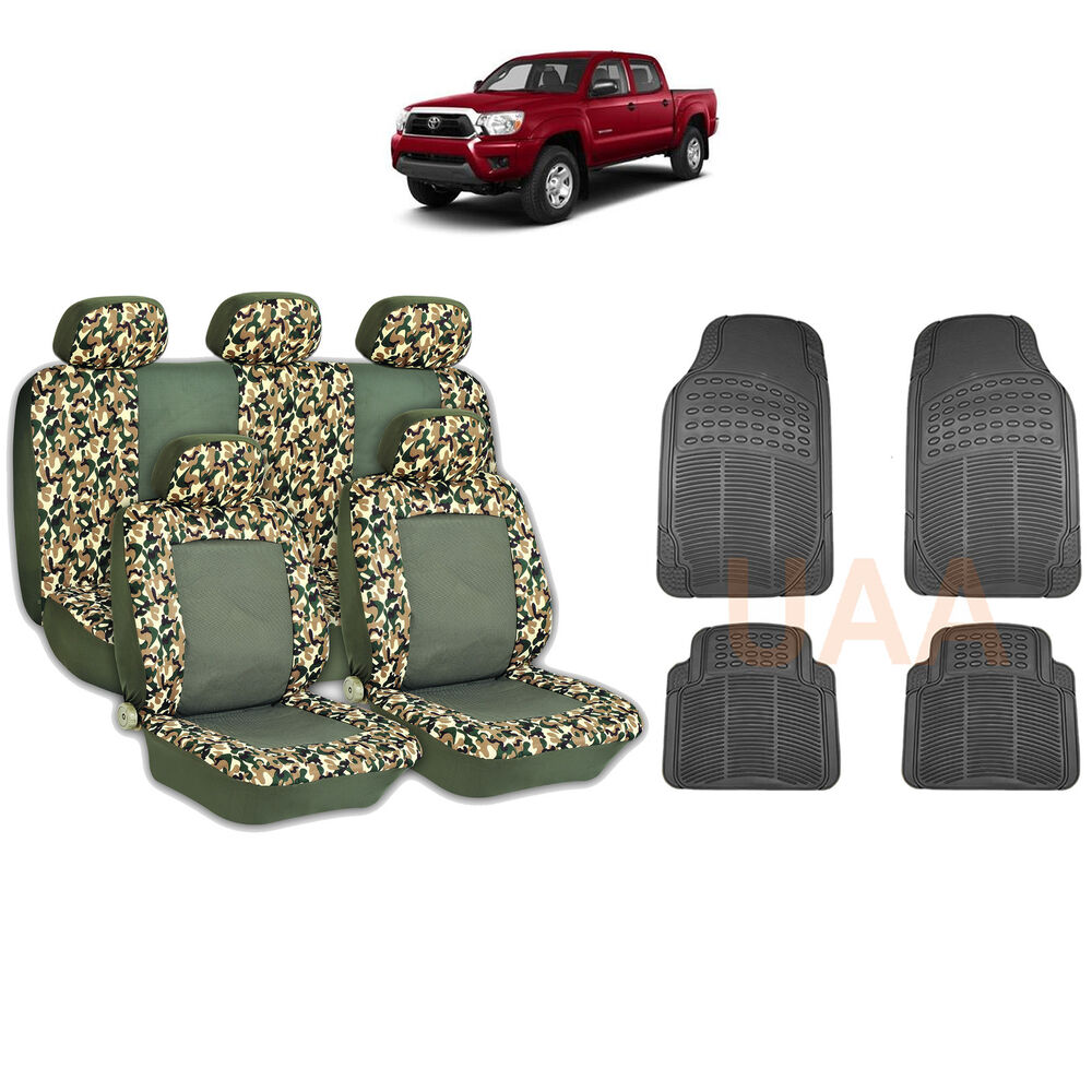 13pc Green Camo 2 Tone Seat Covers Amp Black Rubber Floor