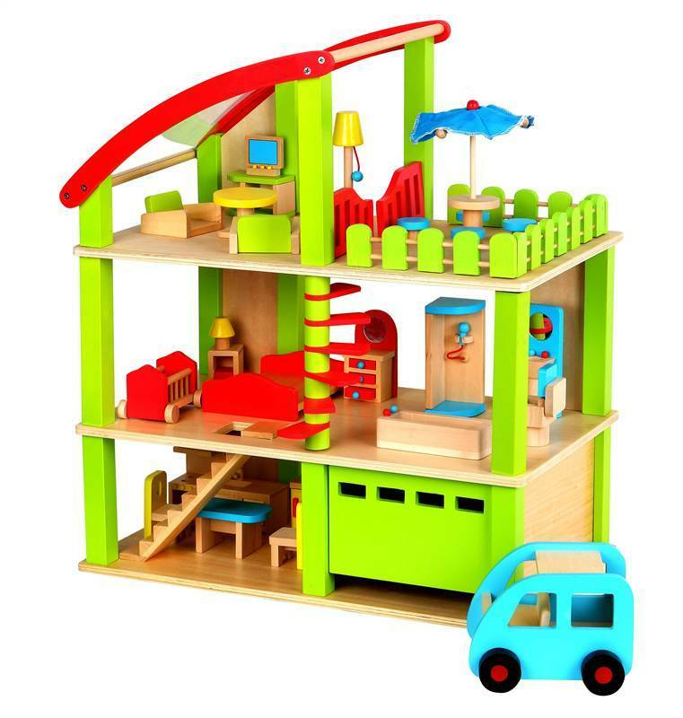 Lelin Wooden Wood Doll Furniture Summer House Childrens