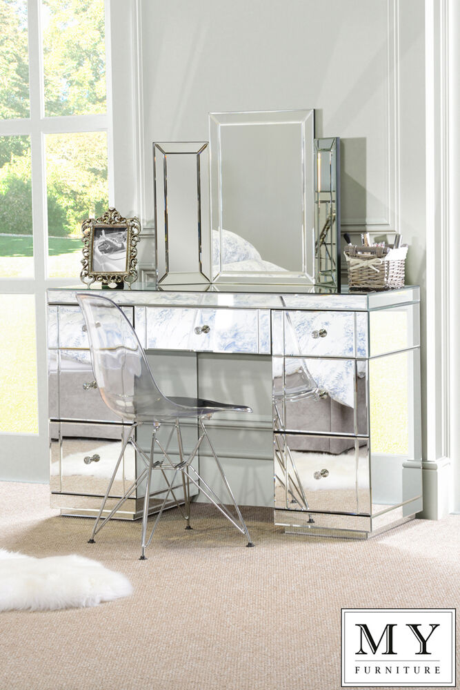 Mirrored Vanity Table And Stool: Large Mirrored Furniture Dressing Console Table/ Desk From