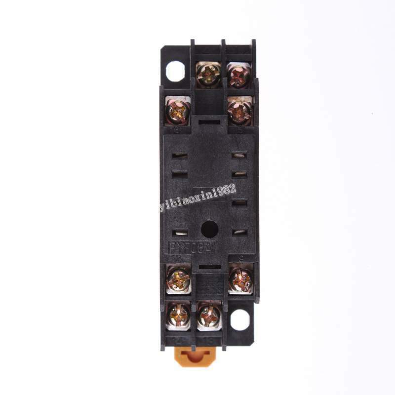 20 Pcs Pyf08 35mm Din Rail Relay Socket Base 8 Pins For Hh52p My2nj