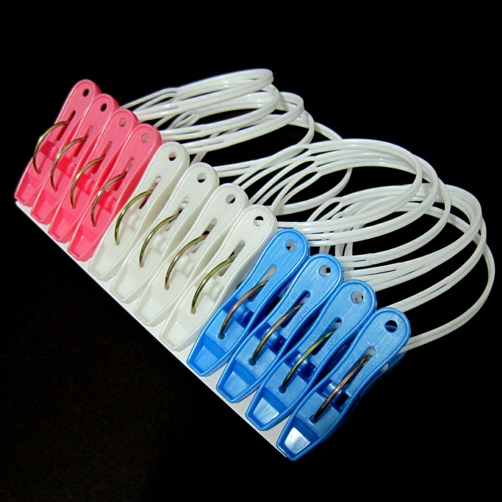New 12pcs Colorful Clothespins Hook Laundry Clips