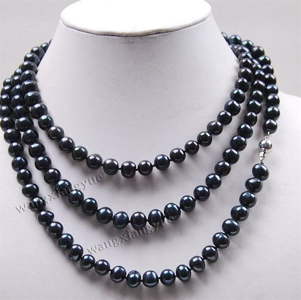long 50 7 8mm black akoya cultured pearl jewelry necklace. Black Bedroom Furniture Sets. Home Design Ideas