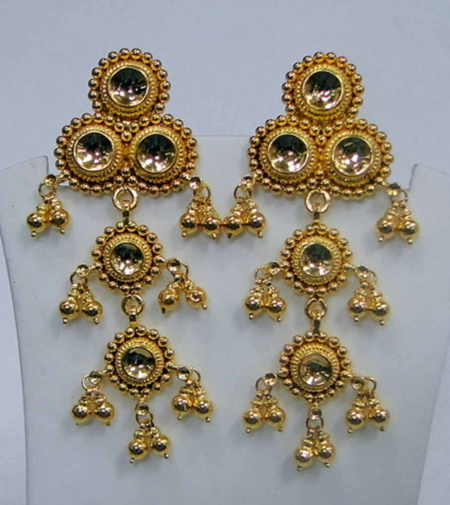 traditional design 22k gold earrings rajasthan india ... - photo #35