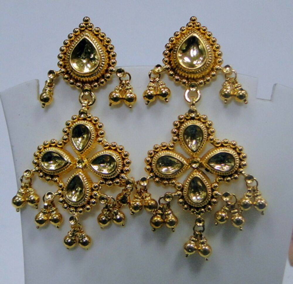 22k gold earrings india traditional design 22k gold earrings rajasthan india 9847