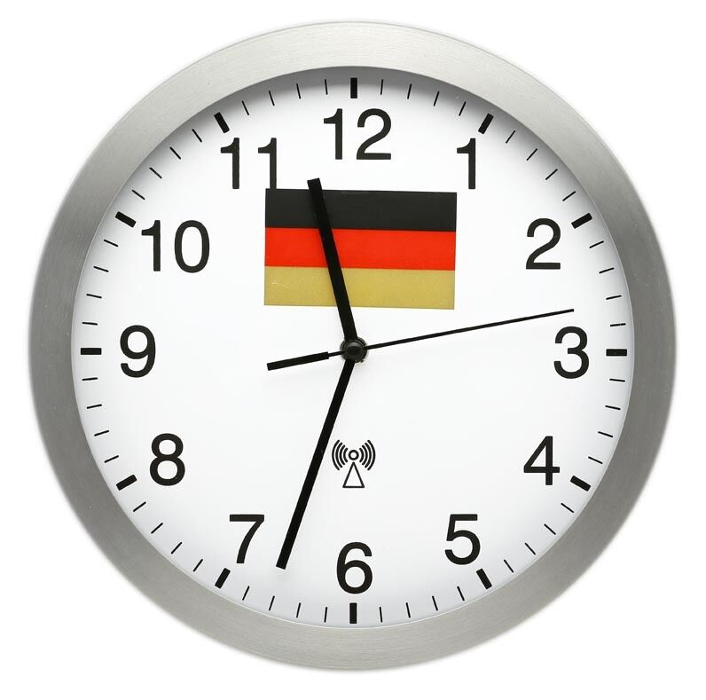 funk wanduhr wm wanduhr 25 cm aluminium deutschland uhr wanduhren funkuhren ebay. Black Bedroom Furniture Sets. Home Design Ideas