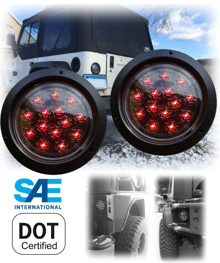 Red Truck Lamp : Pair of led flushmount stop turn tail light round red