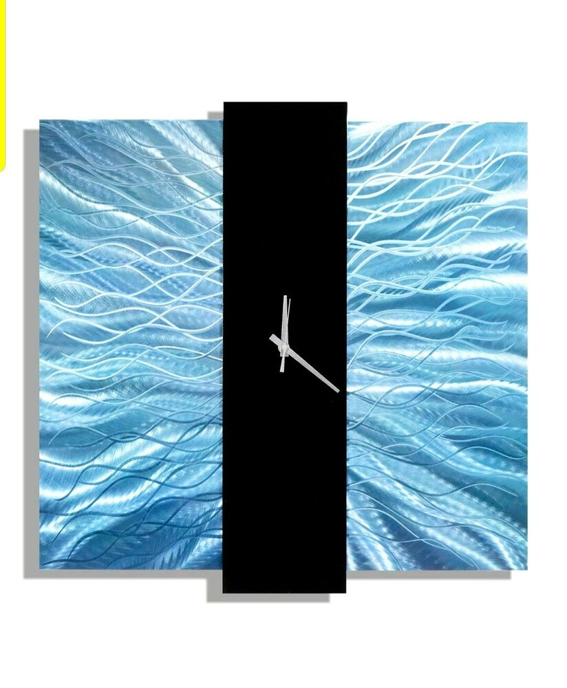 Teal blue black metal wall clock contemporary metal for Contemporary wall art