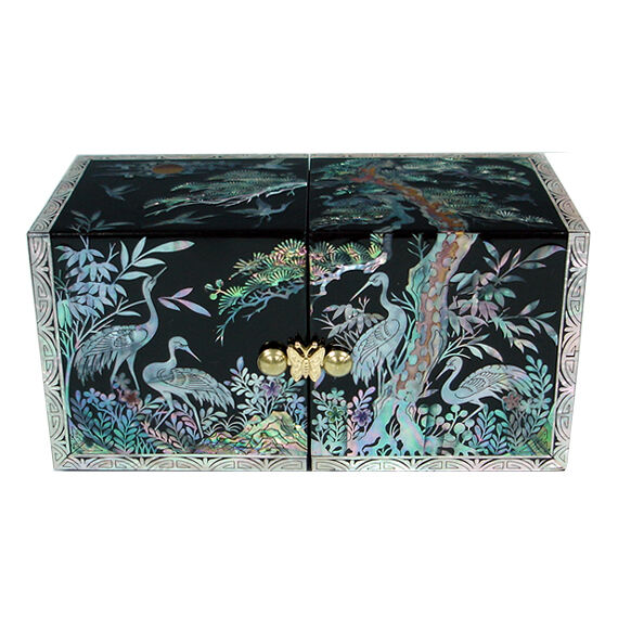 Mother Of Pearl Inlay Lacquer Wood Jewelry Case Trinket