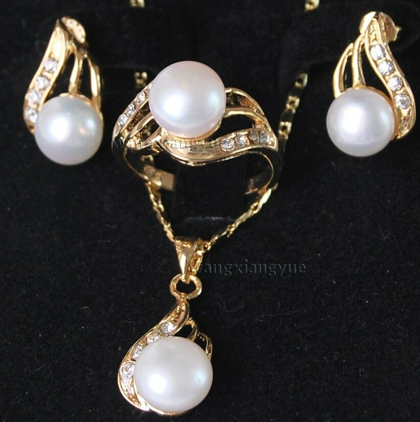 genuine white akoya cultured pearl ring earrings necklace