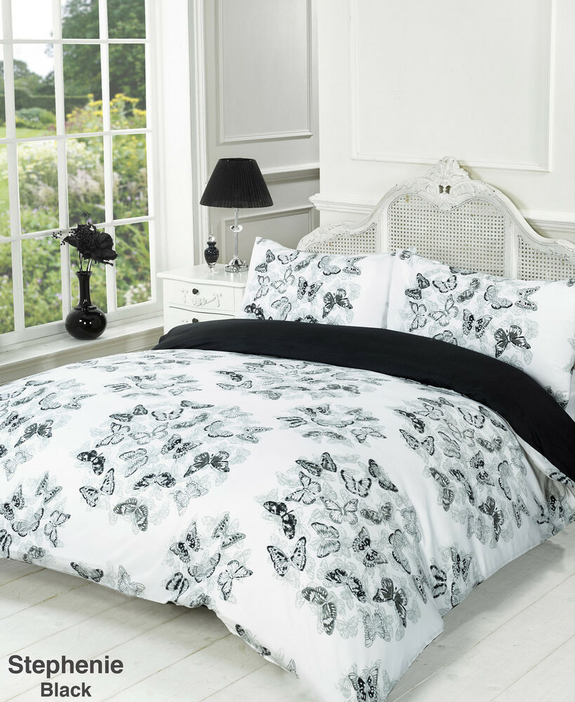 Stephanie black and white butterfly reversible duvet quilt - Black and white bedding set ...