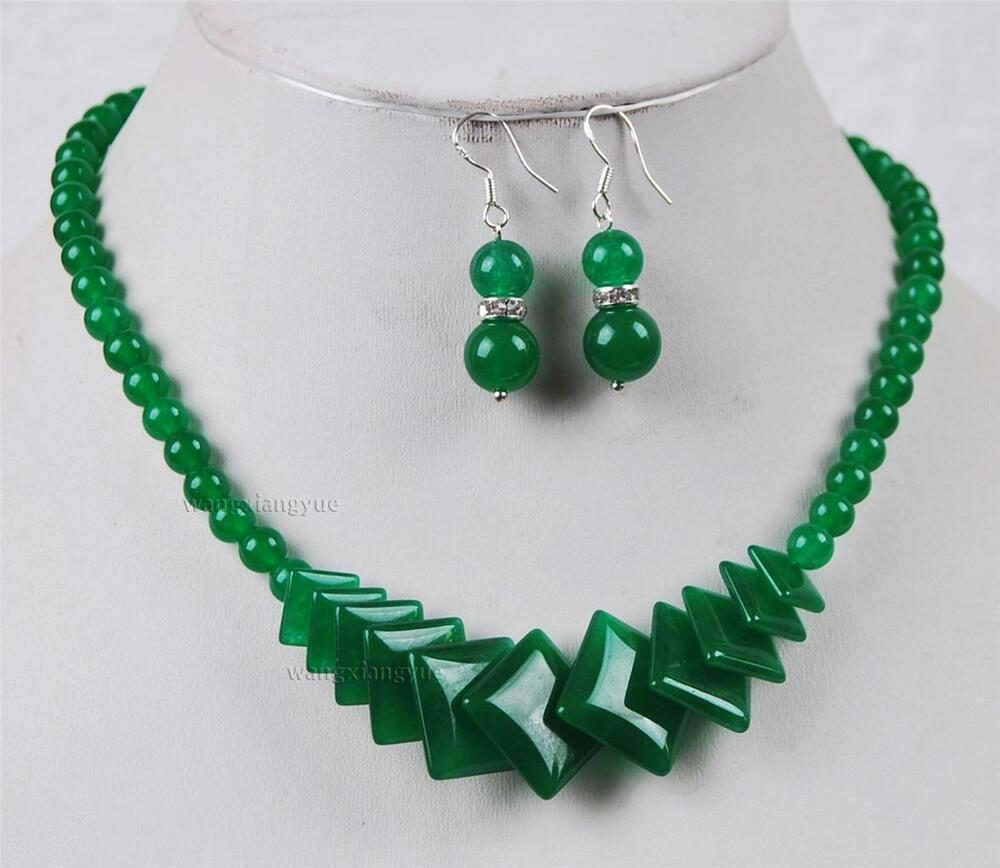 Natural Green Jade Beads Jewelry Necklace Earrings Set Aaa