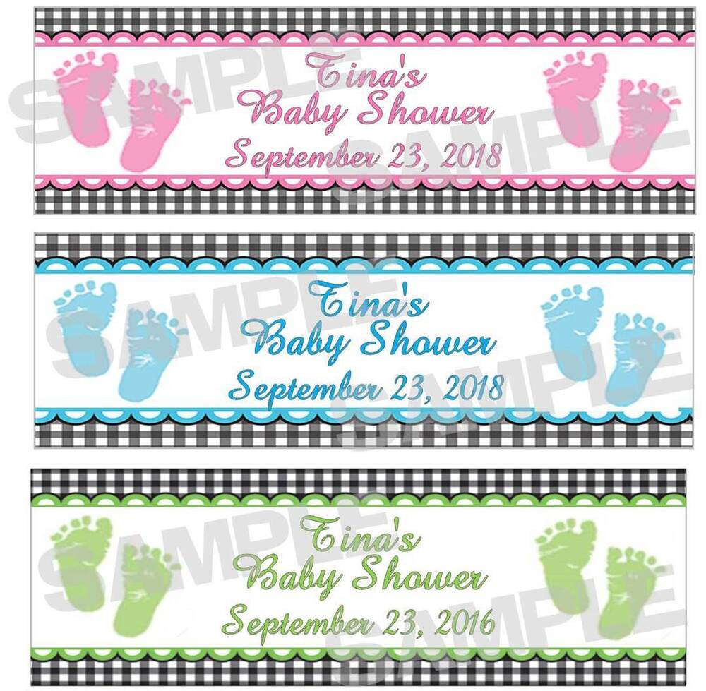 Personalized Blue Pink Green SWEET FEET BABY SHOWER Water