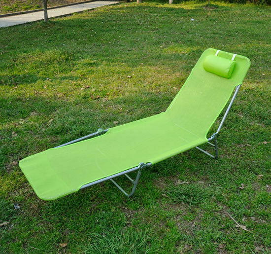 Foldable Chaise Lounge Adjustable Patio Cot Reclining Beach Chair w Pillow Gr