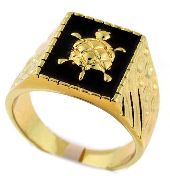 Mens Turtle Black Top 18kt Gold Plated Ring Ebay
