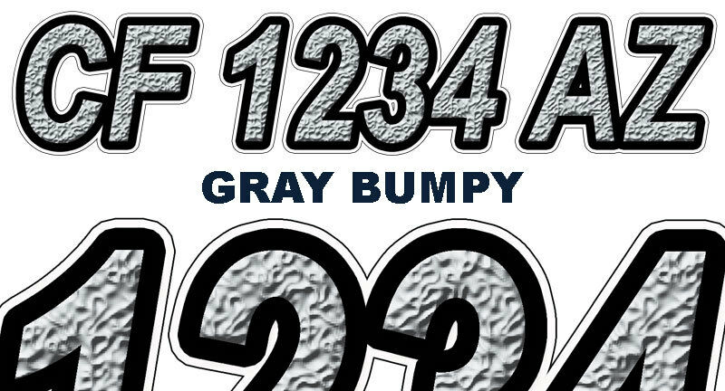 Bumpy custom boat registration numbers decals vinyl for Vinyl letter stickers for boats