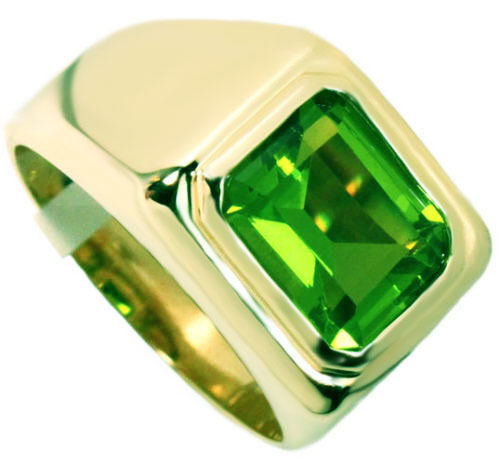 Green peridot stone solitaire gold ep mens ring ebay