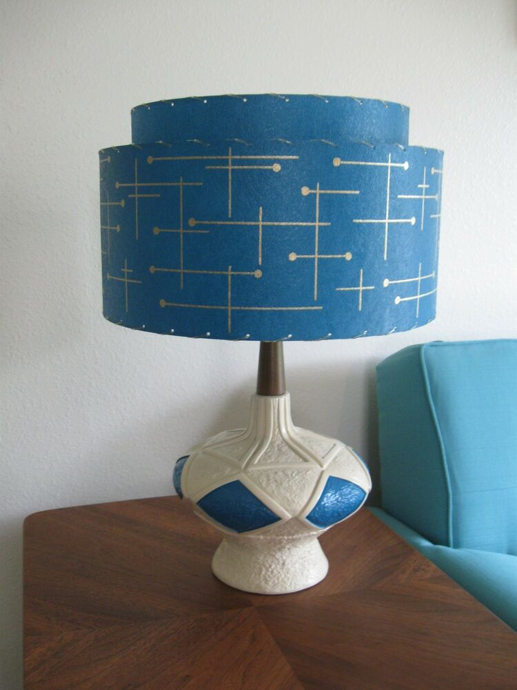 mid century vintage style 2 tier fiberglass lamp shade. Black Bedroom Furniture Sets. Home Design Ideas