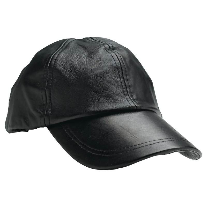 new solid black leather baseball cap mens womens