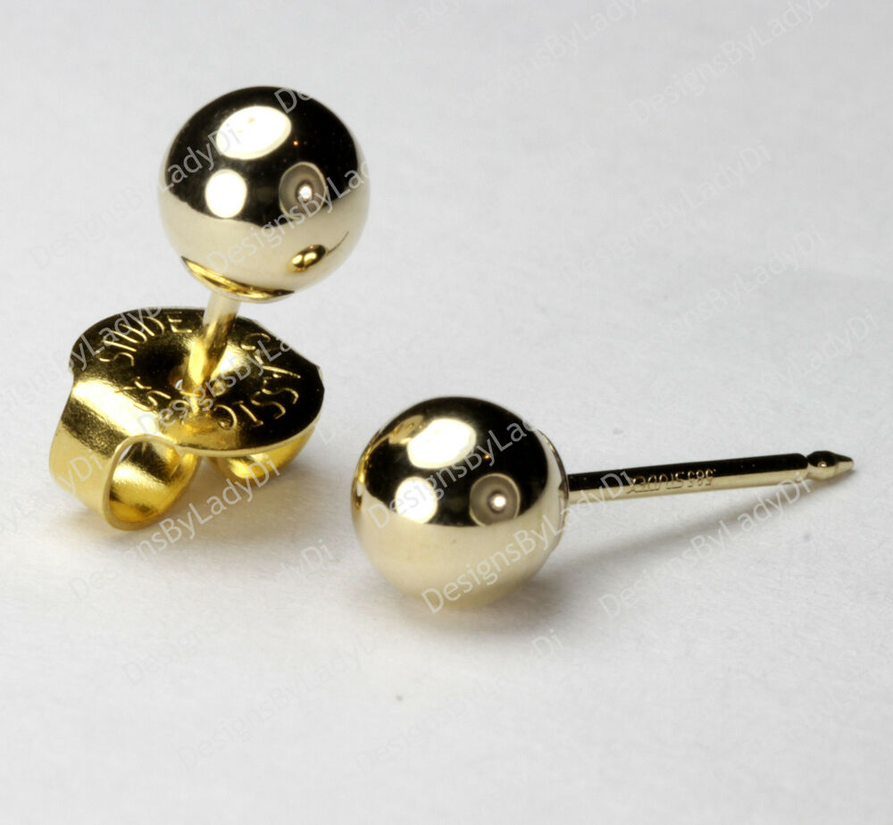 Gold Maxi 5mm Round Ball Studs Ear Piercing Earrings ...