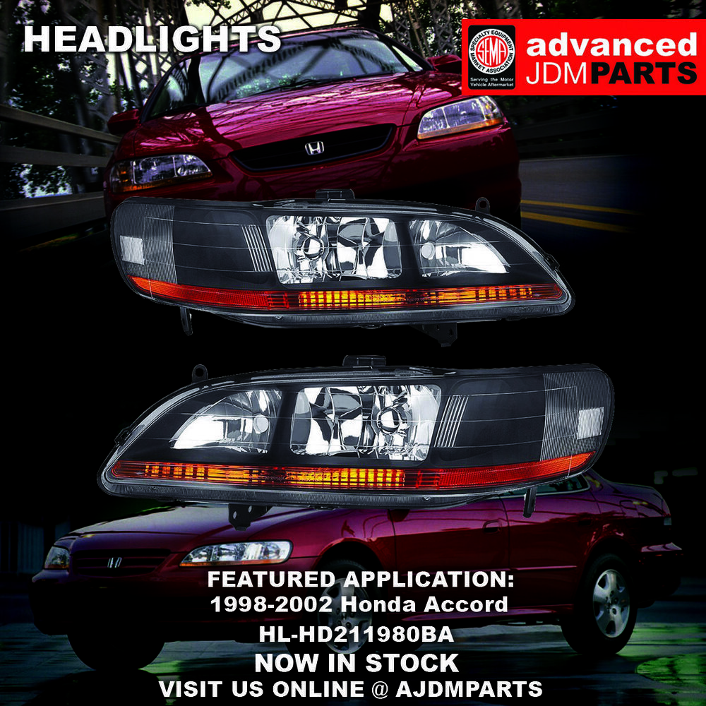 98 02 accord dx lx ex v6 jdm black headlights w amber. Black Bedroom Furniture Sets. Home Design Ideas