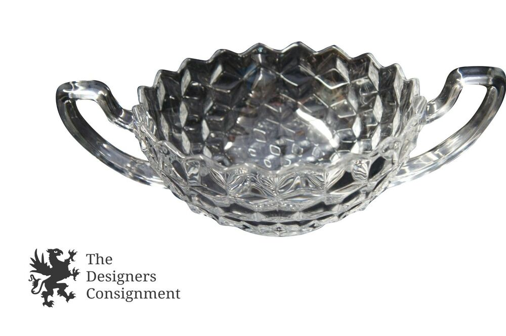 amazing fostoria american glass handled trophy fruit bowl