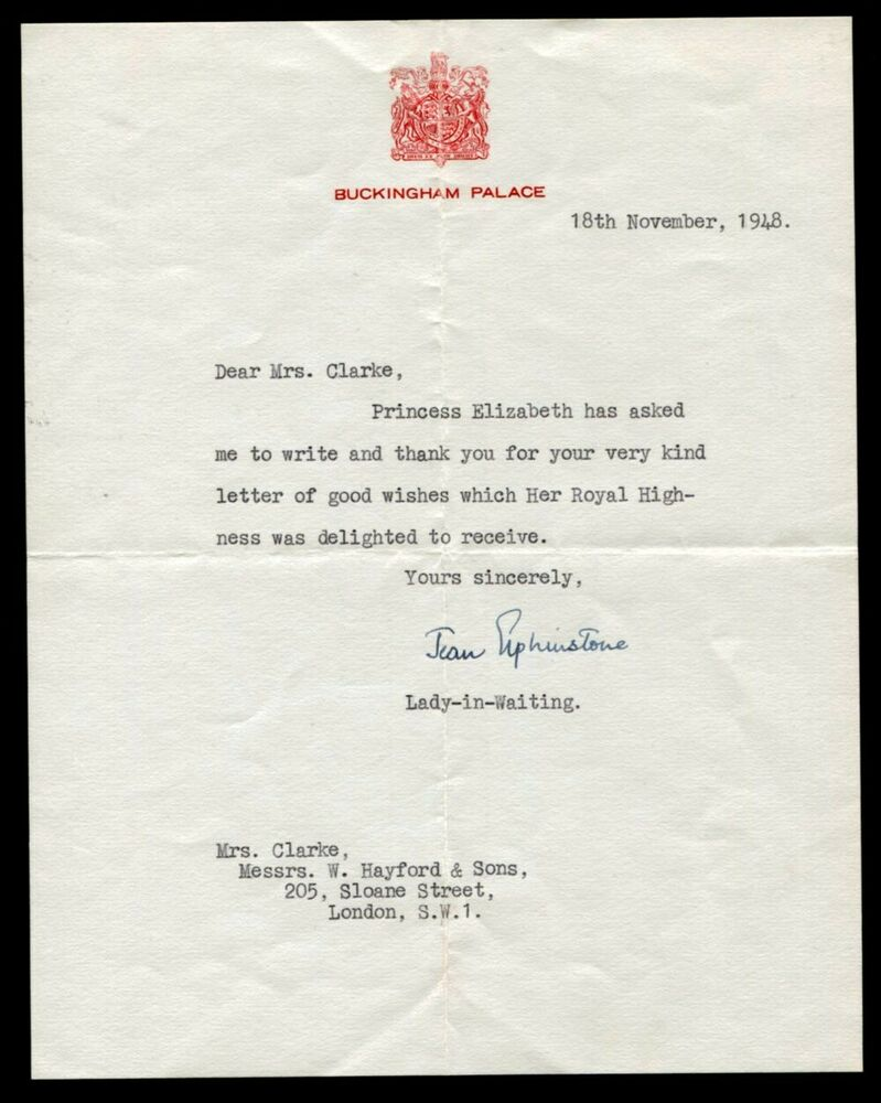 Fine letter from lady in waiting jean elphinstone queen elizabeth ii fine letter from lady in waiting jean elphinstone queen elizabeth ii 1948 ebay spiritdancerdesigns Gallery