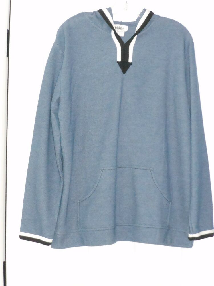 ONE HANES PLACE HEATHER GRAY BLUE PULLOVER HOODIE NAVY ...