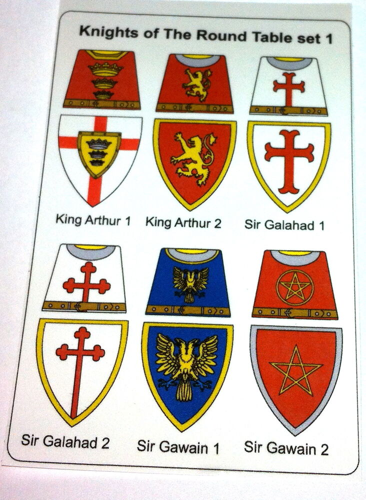 12 custom stickers knights of the round table set 1 lego torso size ebay - Knights of the round table lego ...