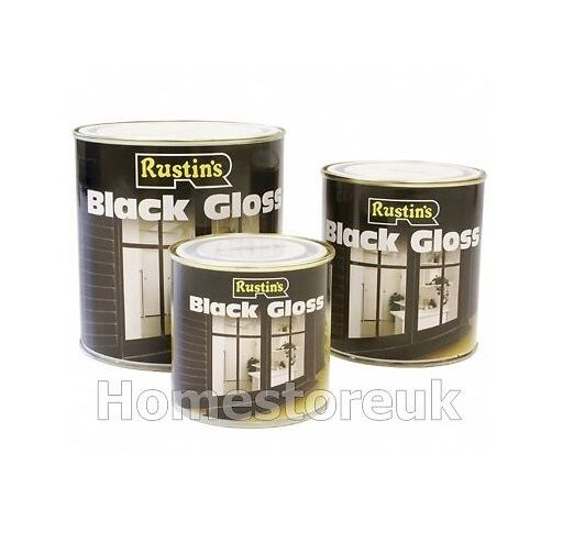 250ml 500ml rustins black gloss paint for wood metal interior exterior oil alkyd ebay - Exterior white wood paint collection ...