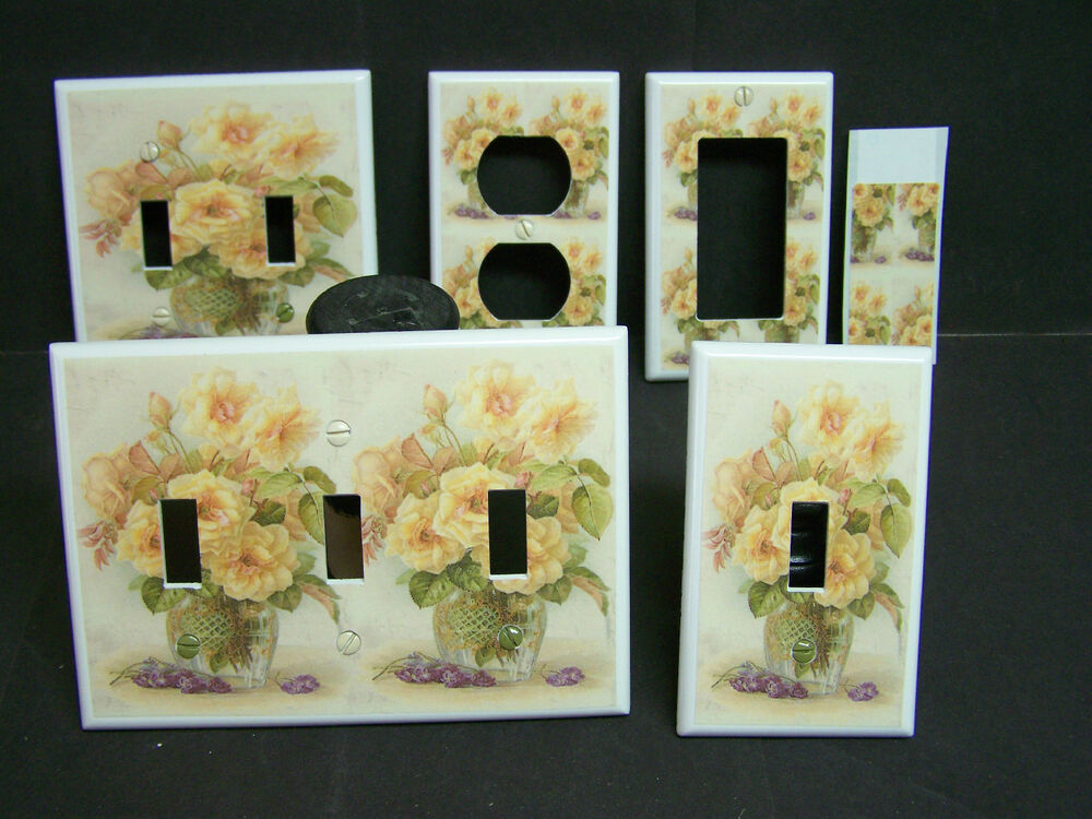 Yellow Roses Victorian Image 1 Light Switch Covers Plate
